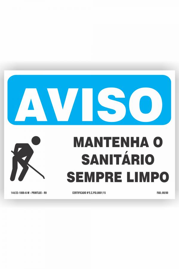 R9 – Aviso sanitário limpo